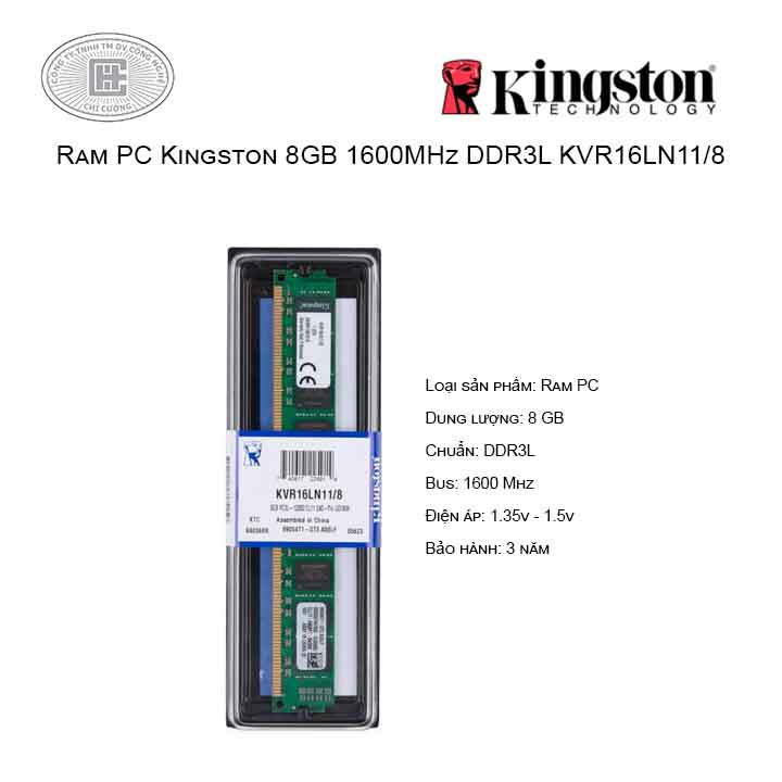 Ram PC Kingston 8GB/1600MHz