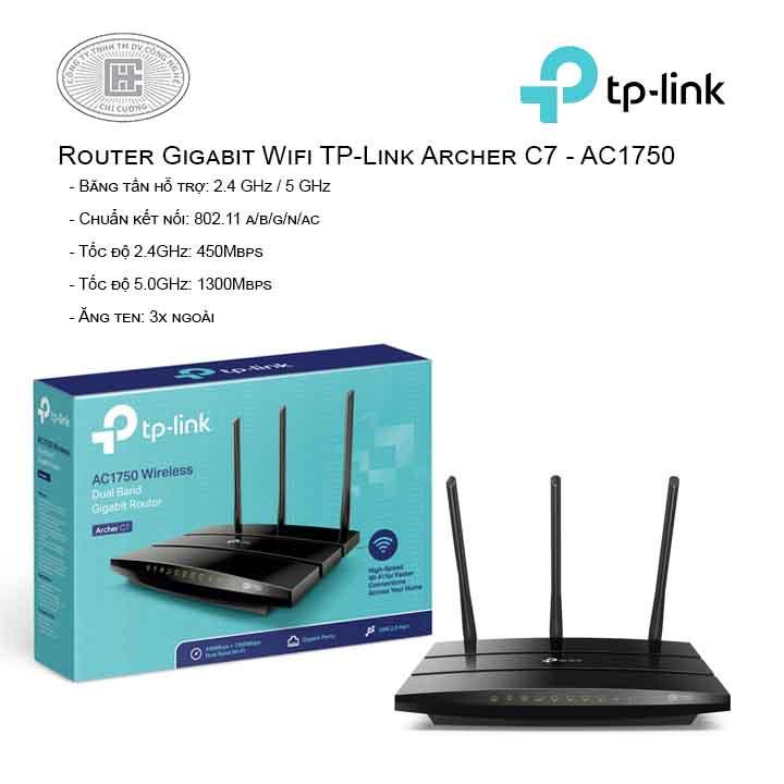 Router Gigabit Wi-Fi Băng tần kép AC1750 - Archer C7
