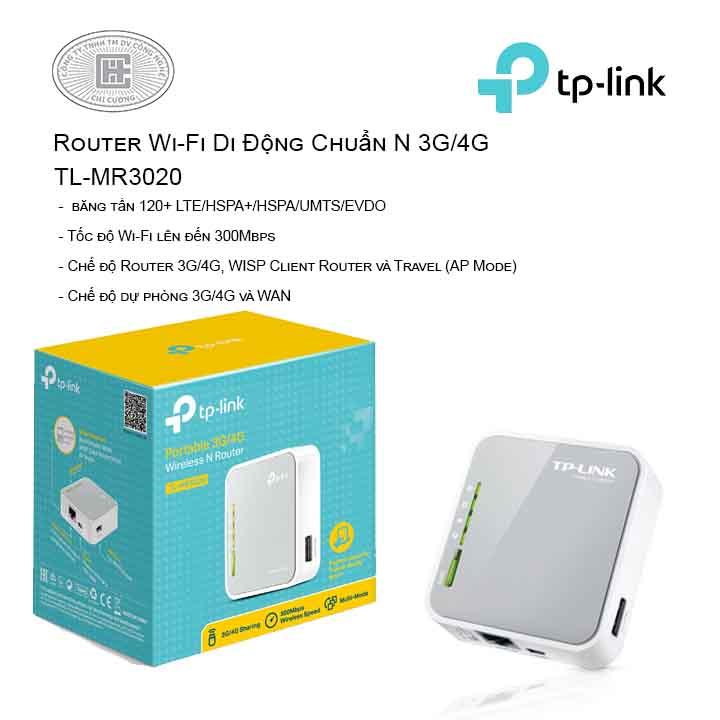 Router Wi-Fi Di Động Chuẩn N 3G/4G TL-MR3020
