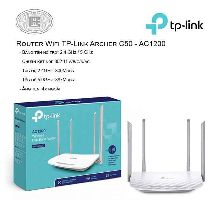 Router Wi-Fi Băng Tần Kép AC1200 - Archer C50