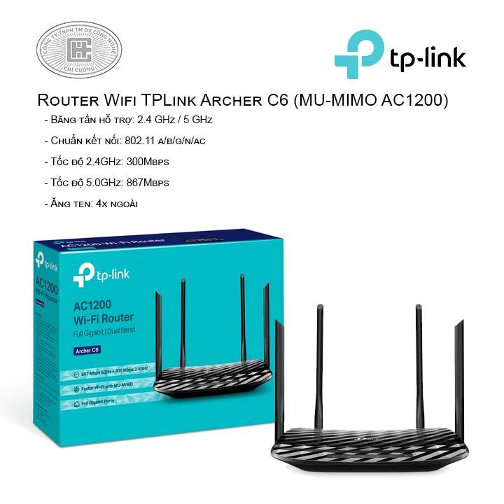 Router Wifi TPLink Archer C6 (MU-MIMO AC1200)