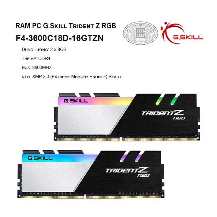 RAM G.Skill TRIDENT Z Neo - 16GB (8GBx2) DDR4 3600GHz F4-3600C16D-16GTZNC