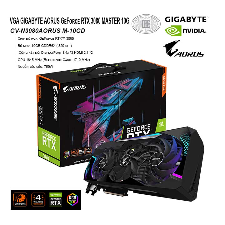 VGA GIGABYTE AORUS GeForce RTX 3080 MASTER 10G (GV-N3080AORUS M-10GD)