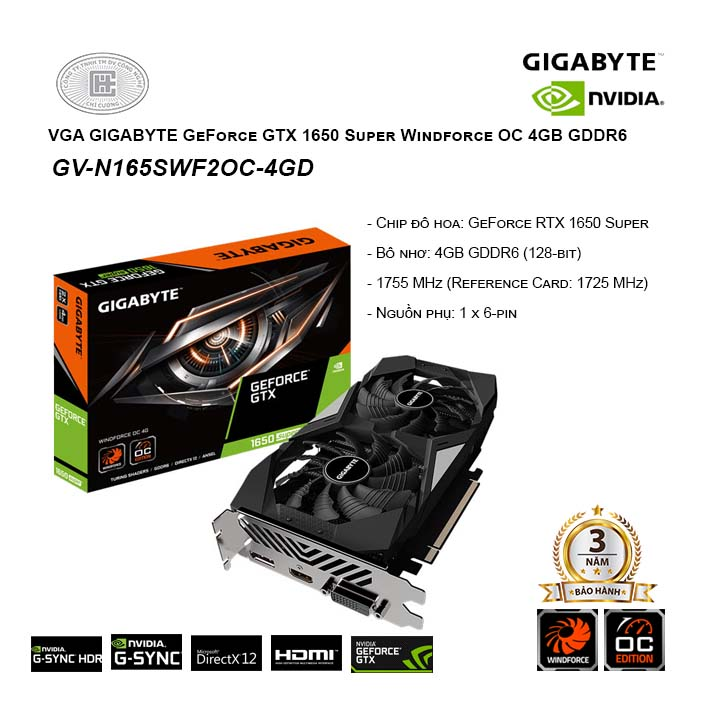 VGA Gigabyte GeForce GTX 1650 Super Windforce OC 4G GDDR6 (GV-N165SWF2OC-4GD)
