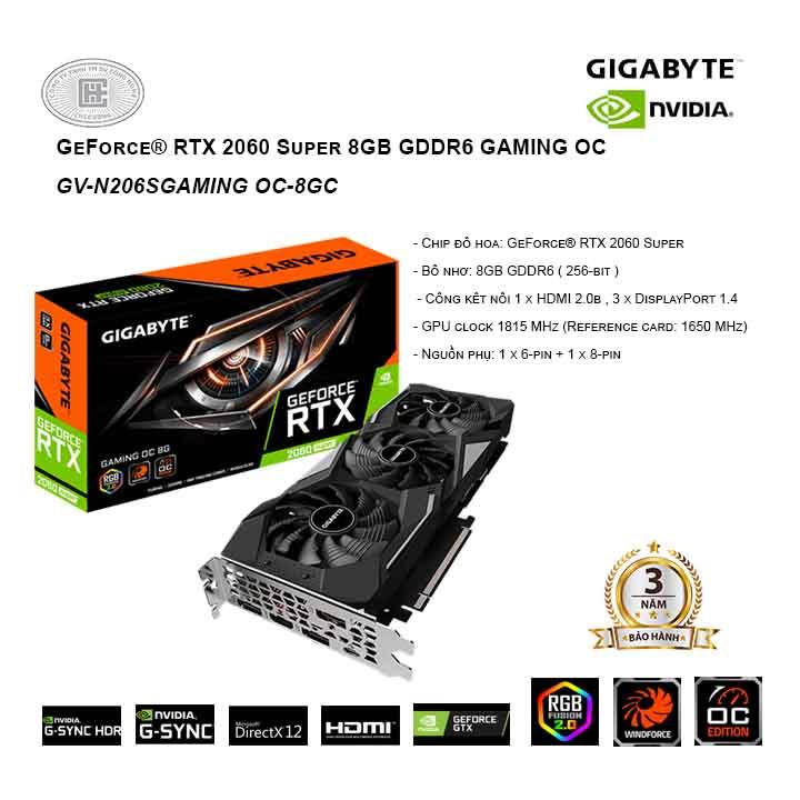 VGA GIGABYTE GeForce RTX 2060 Super 8GB GDDR6 GAMING OC - N206SGAMING OC-8GC