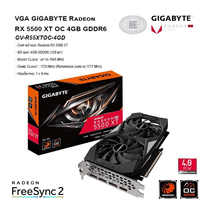 VGA GIGABYTE Radeon RX 5500 XT OC 4GB GDDR6