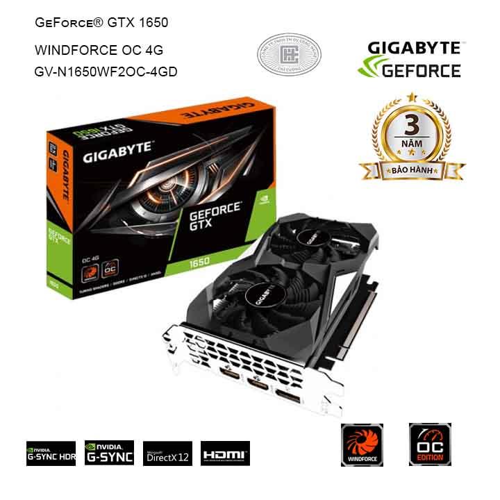 VGA GIGABYTE GeForce GTX 1650 4GB GDDR5 WindForce OC (GV-N1650WF2OC-4GD)
