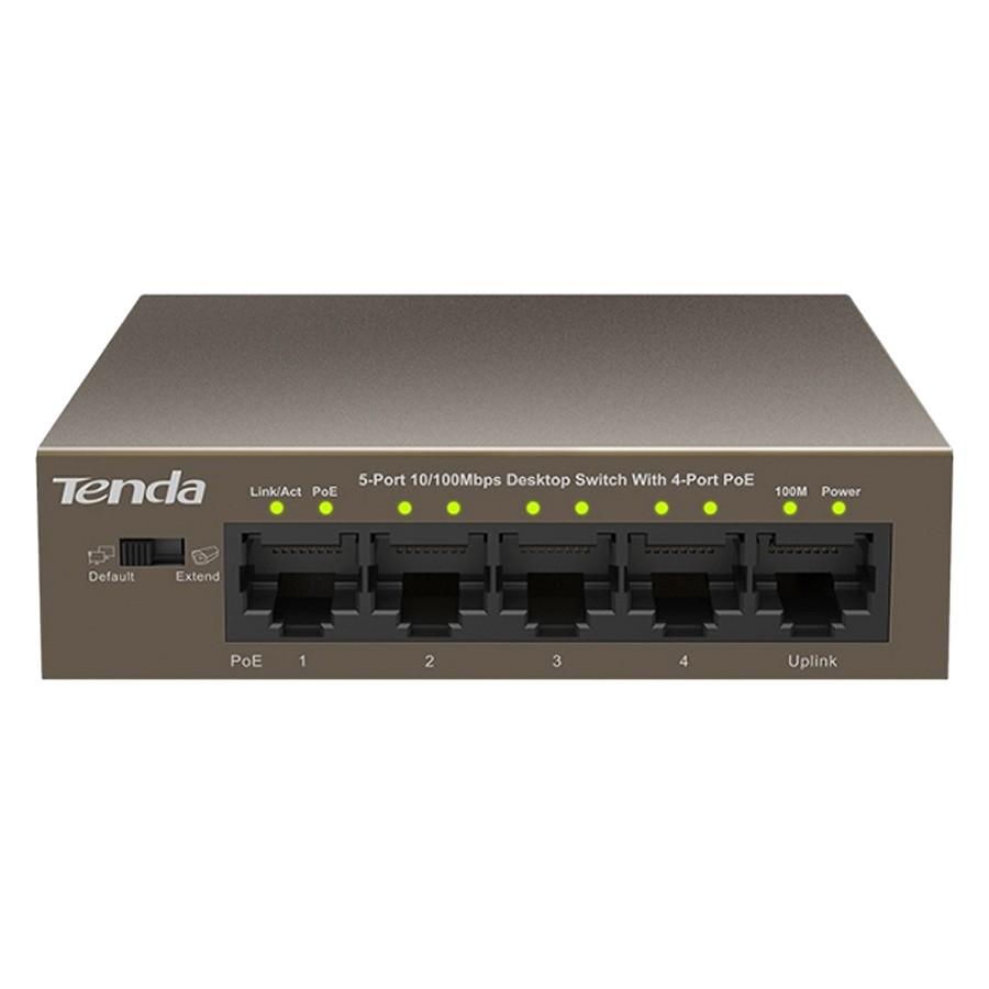 Thiết bị chia mạng 5 cổng LAN 10/100Mbps - 4 cổng PoE TENDA TEF1105P