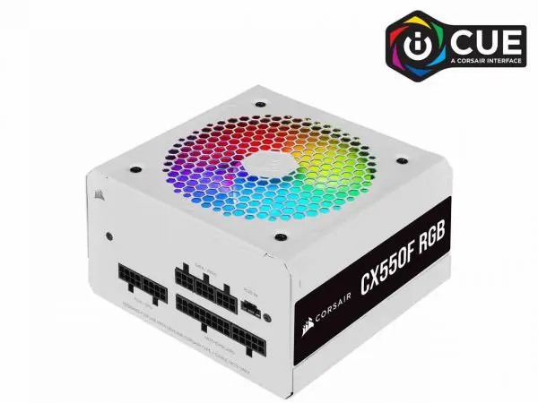 Nguồn Corsair CX550F RGB White Full Modul – 80 Plus Bronze (CP-9020225-NA)