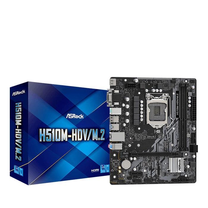 Mainboard ASROCK H510M-HDV/M.2 (Intel H510, Socket 1200, m-ATX, 2 khe Ram DDR4)
